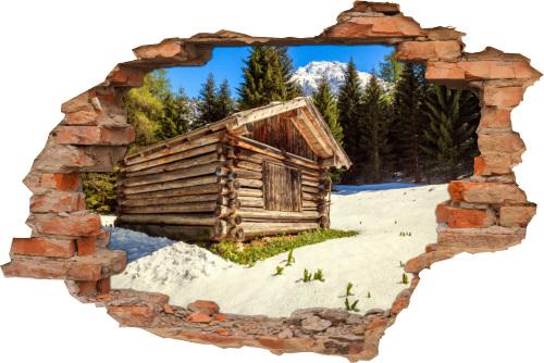 Winter Schnee Gebirge Schweiz Holz-Hüte Berg
