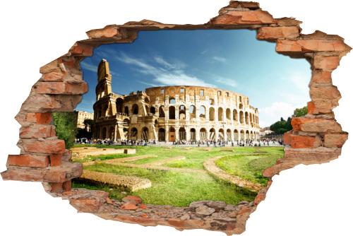 Wand-Bild Wand-Durchbruch Architektur Colosseum Rom Italien Antik Denkmal