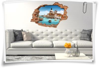 Wand-Tattoo-3D Wohnzimmer Deko Italien Venedig Wand-Aufkleber