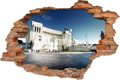 3D Wand-Aufkleber Wand-Bild Wand-Durchbruch Piazza-Venezia