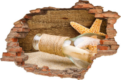 Wand-Durchbruch Flaschen-Post See-Stern Sand Holz Brief beige-braun
