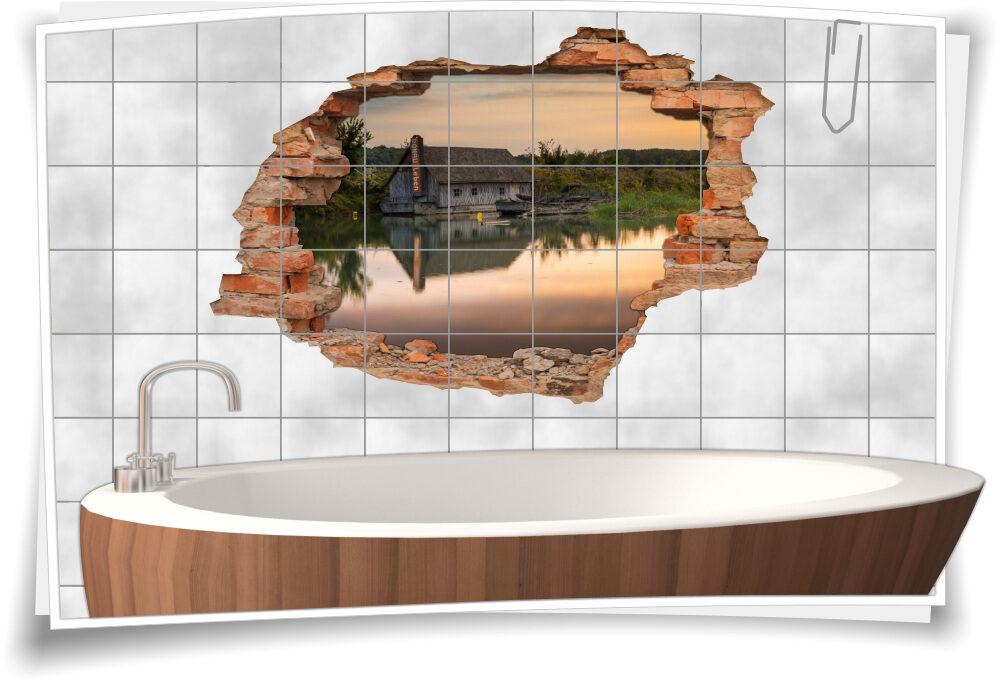 Wand-tattoo Bad-Fliesen-Aufkleber Badezimmer-Deko Landhaus-stil 3D