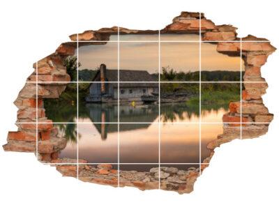 Deko Landhaus-stil 3D-Fliesen-Bild-er See Abend-s Hüte Wald