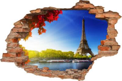 Wand-Aufkleber Flur Wand-Durchbruch 3D Paris Eiffelturm Seine Romantisch