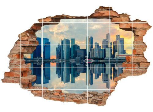 Fliesen-Bild-er Küste Wolkenkratzer Wand-Aufkleber Wasserspiegelung
