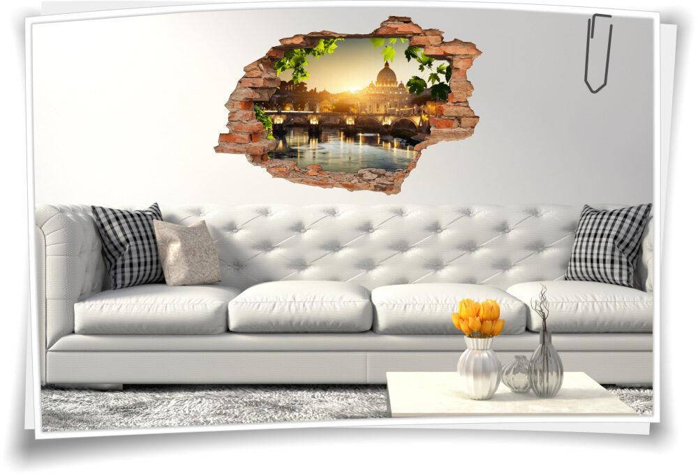 3d Wand Bild Wand Tattoo Wand Aufkleber Brucke Italien Rom Petersdom Sonne Fluss Medianlux Shop