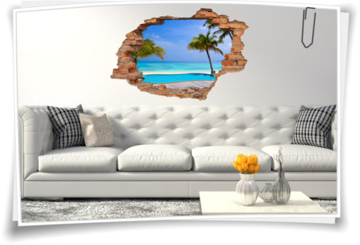 Wand-tattoo Schlafzimmer türkis Wanddurchbruch Traum-Strand Palmen