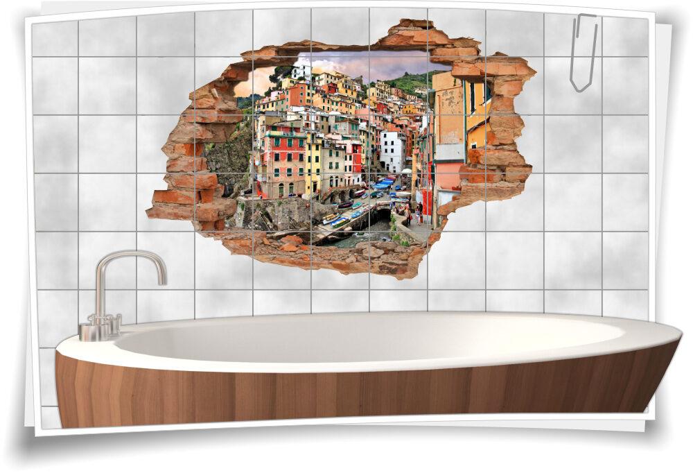 Fliesentattoo Badezimmer Deko italienische Küste Fliesenbilder ...