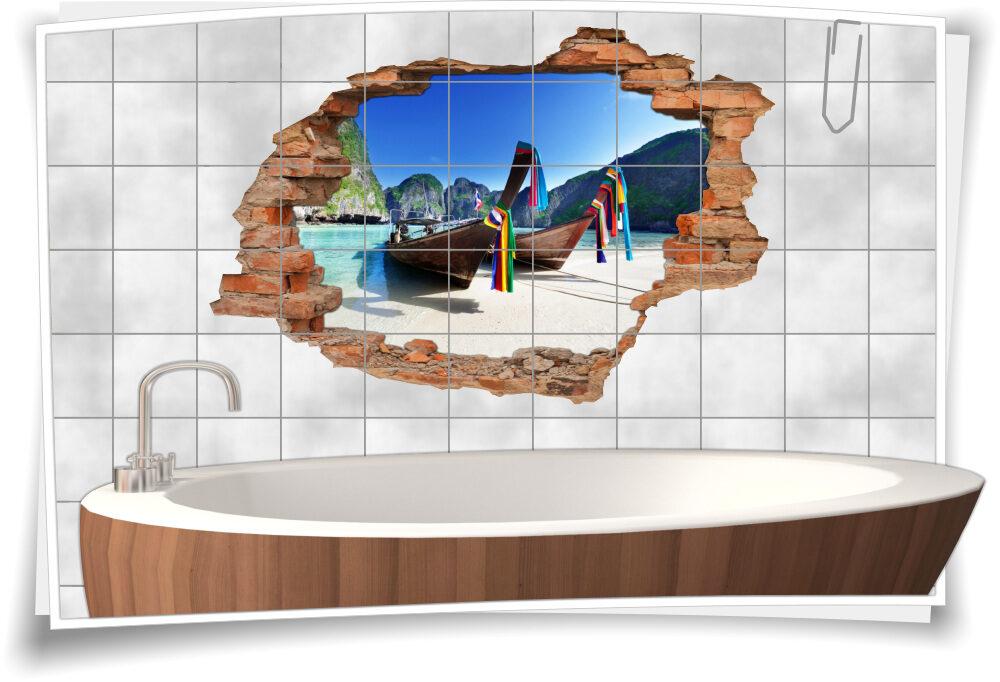Wanddurchbruch 3D Fliesentattoo Hawaii Sand Strand Fliesenbilder ...