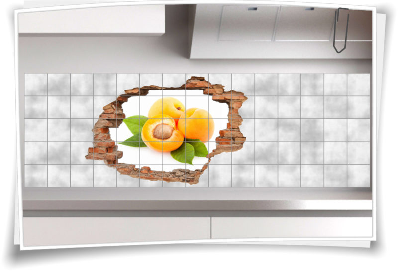 fliesenbild wanddurchbruch 3d fliesenaufkleber pfirsich k che obst gelb gr n deko medianlux shop. Black Bedroom Furniture Sets. Home Design Ideas