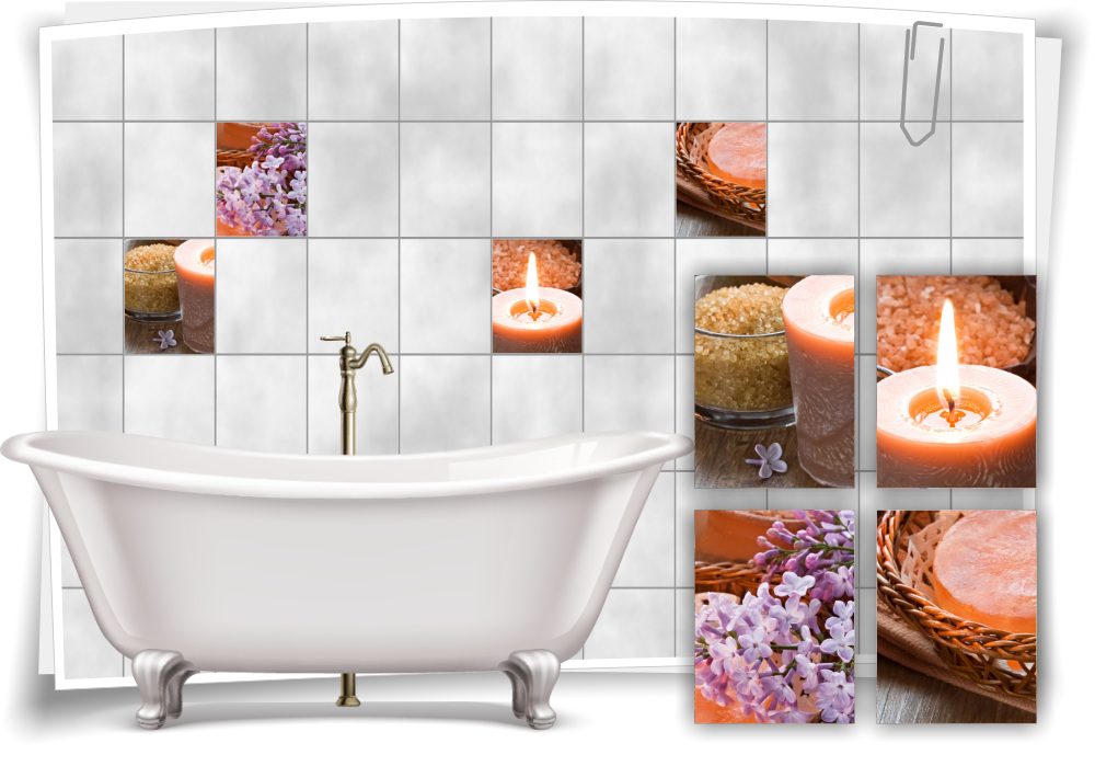Fliesen-Aufkleber Fliesen-Bild Flieder Salz Kerzen ...