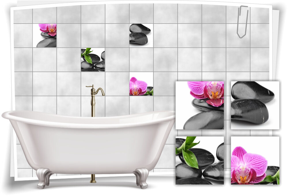 Fliesen-Aufkleber Fliesen-Bild Orchideen Steine Pink Wellness SPA Deko Bad WC