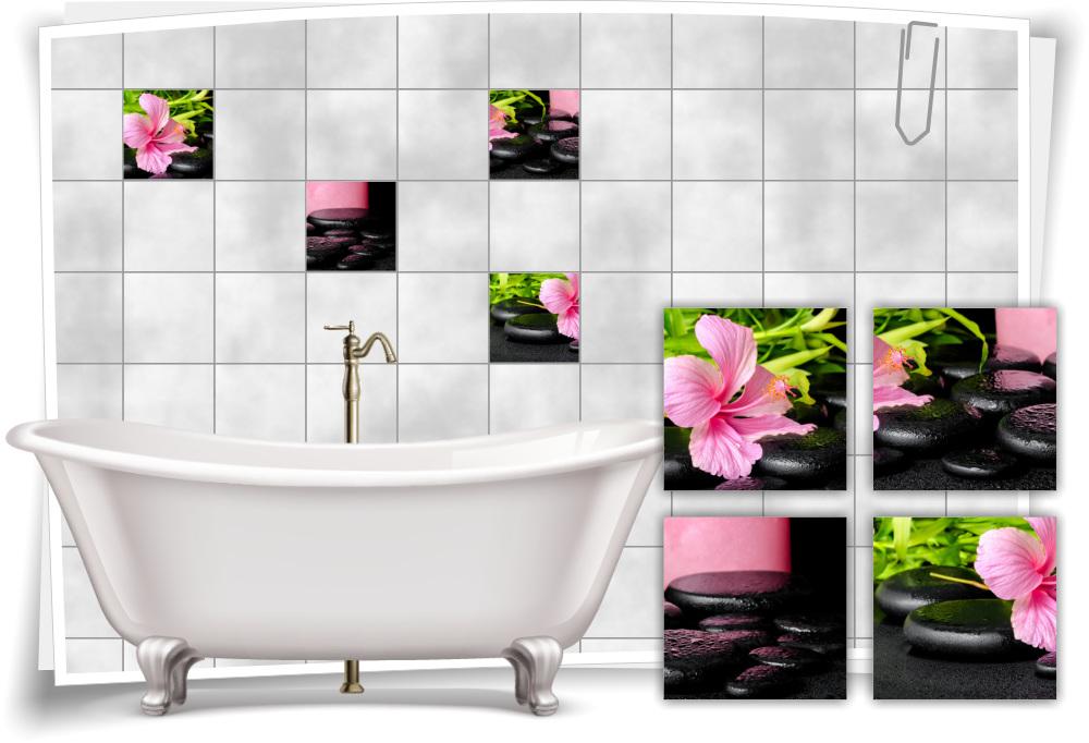 Fliesen-Aufkleber Fliesen-Bild Orchideen Steine Schwarz Pink Wellness SPA  Deko Bad WC