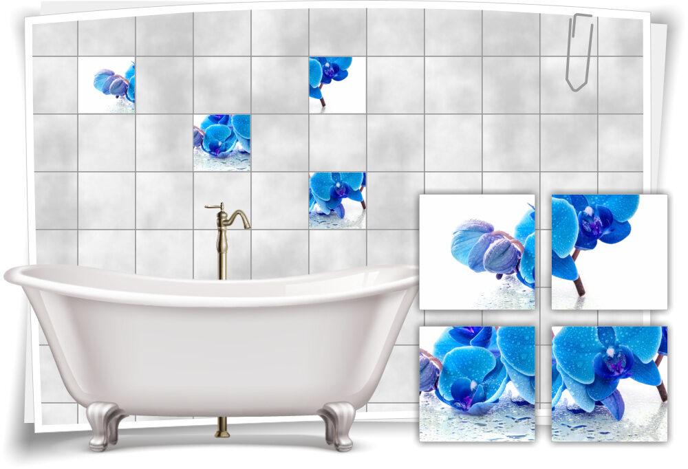 Fliesen-Aufkleber Fliesen-Bild Orchideen Wassertropfen Blau Wellness SPA  Deko Bad WC