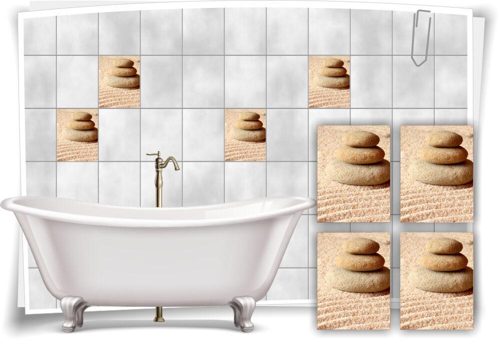 Fliesen-Aufkleber Fliesen-Bild Steine Kerze Sand Beige Wellness SPA Deko Bad WC