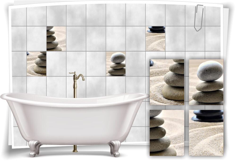 Fliesenaufkleber Fliesenbild Sand Steine Wellness SPA Grau Aufkleber Deko  Bad WC
