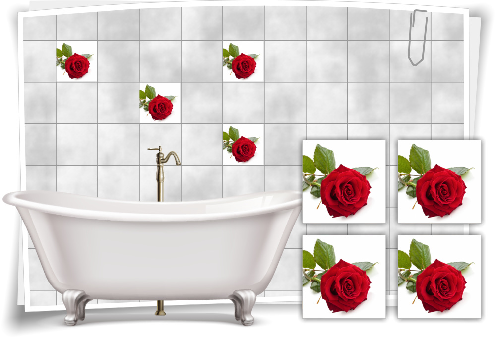 Fliesen Aufkleber Fliesen Bild Rosen Blume Blatter Spa Rot Grun