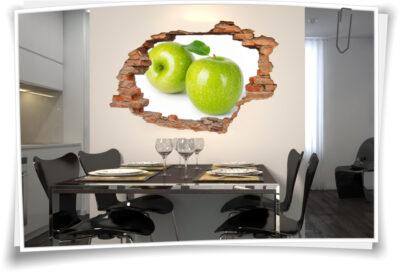 3D Wand-Bild Wand-Tattoo Wand-Aufkleber Apfel Obst Apple Grün Küche Deko