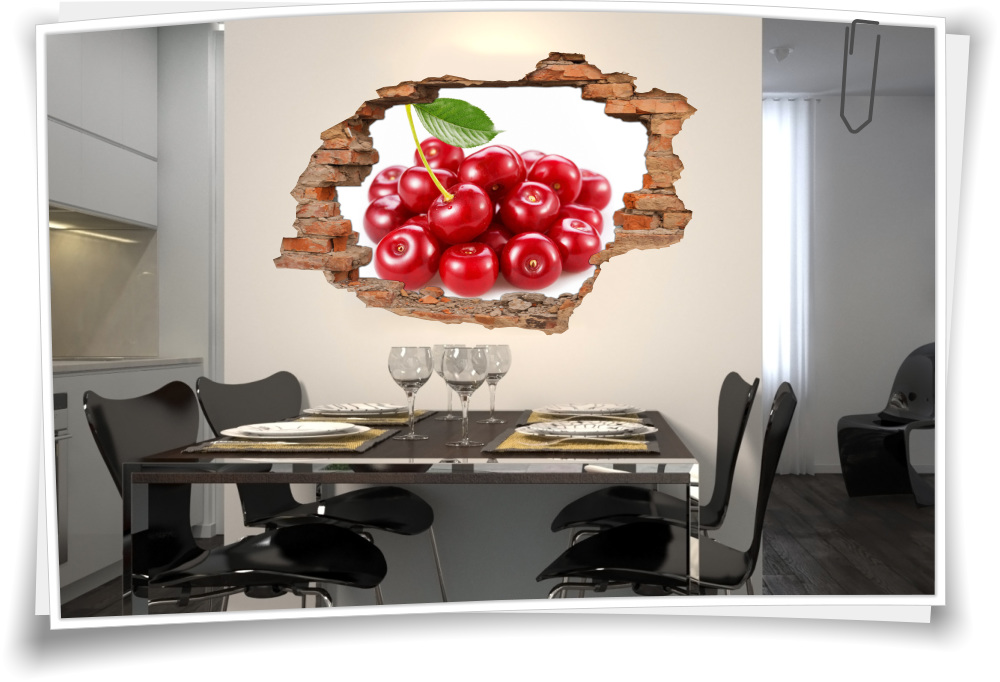 3D Wand-Bild Wand-Tattoo Wand-Aufkleber Kirschen Rot Obst Küche Kirsche Deko