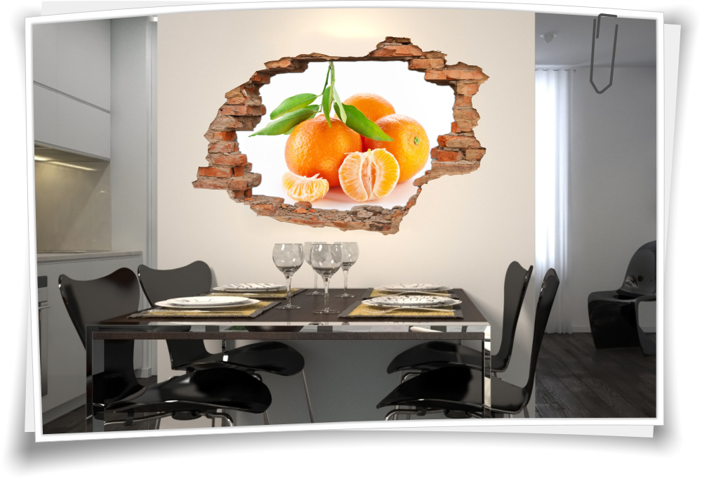 3D Wand-Bild Wand-Tattoo Wand-Aufkleber Mandarine Gelb Orange Frucht ...