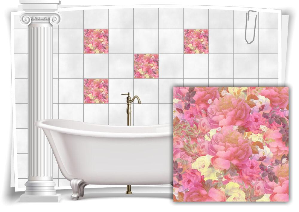 Fliesen-Aufkleber Fliesen-Bild Vintage Nostalgie Blumen Rosen Alt Bad WC  Deko