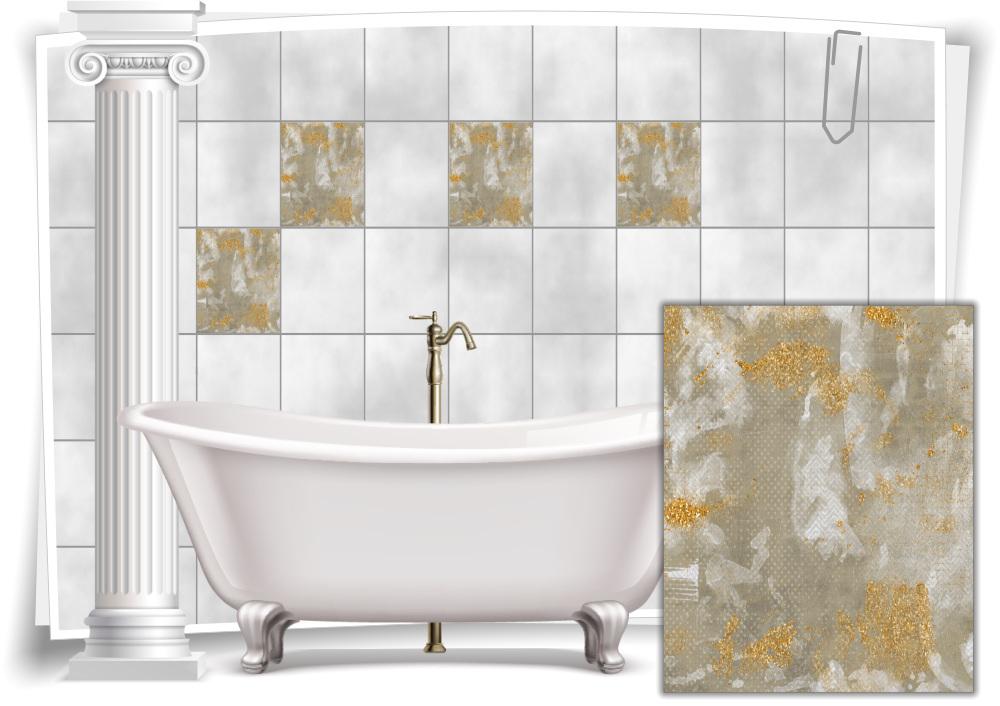 Fliesen-Aufkleber Vintage Nostalgie Retro Grau Beige Gold Abstrakt Bad WC  Deko