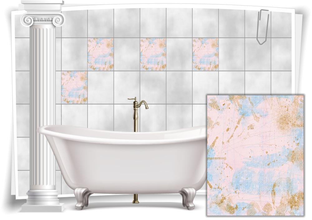 Fliesen-Aufkleber Vintage Nostalgie Retro Pastell-Rosa Pastell-Blau Gold Bad WC
