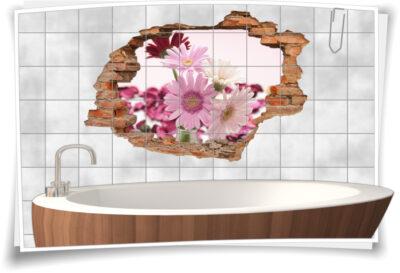 Fliesen-Aufkleber Fliesen-Bild Kerzen Steine Wellness SPA Rot Weiß Deko Bad WC
