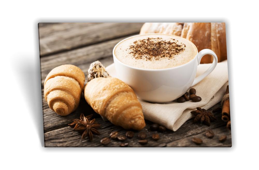Leinwand-Bild Keilrahmen-Bild Kaffee-Bohnen Kaffee-Tasse Croissant Morgen  Frühstück Küche Kaffee-Mühle