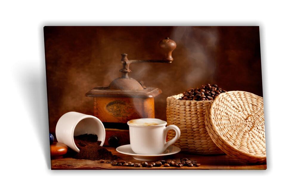 Leinwand-Bild Keilrahmen-Bild Kaffee-Bohnen Kaffee-Tasse Frühstück Küche  Kaffee-Mühle Deko