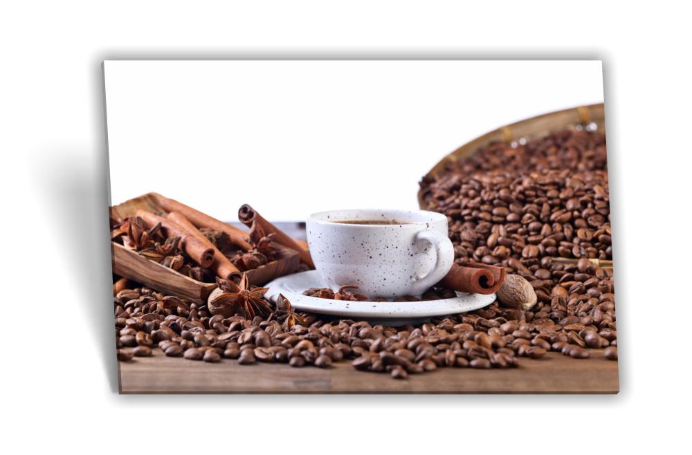 Leinwand-Bild Keilrahmen-Bild Kaffee-Bohnen Kaffee-Tasse Kakao Küche  Kaffee-Mühle Deko