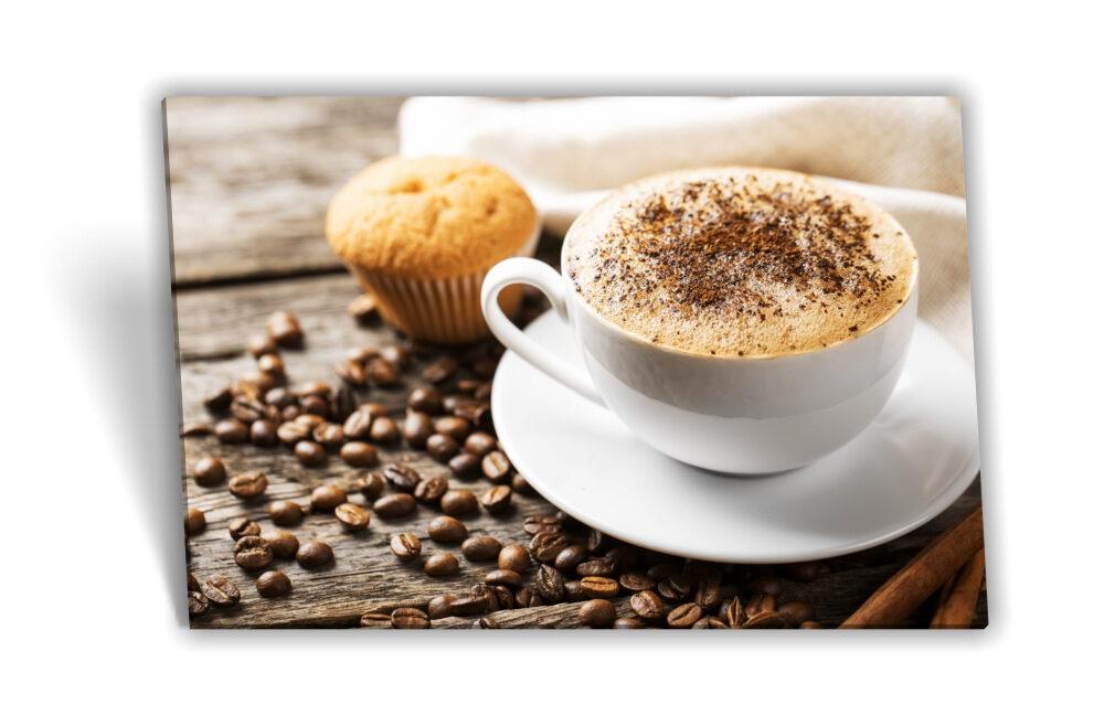 Leinwand-Bild Keilrahmen-Bild Kaffee-Bohnen Kaffee-Tasse Muffin Kuchen  Frühstück Küche Kaffee-Mühle