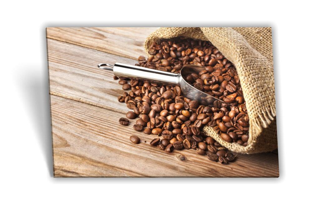 Leinwand-Bild Keilrahmen-Bild Kaffee-Bohnen Tasse Morgen Frühstück Küche  Deko