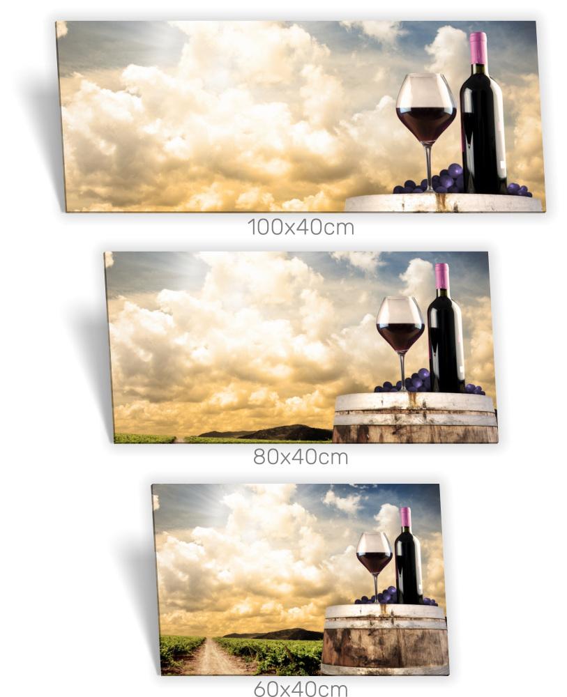 Leinwand-Bild Keilrahmen-Bild Rot Weiss Wein-Trauben Küche Flasche Fass  Deko Glas