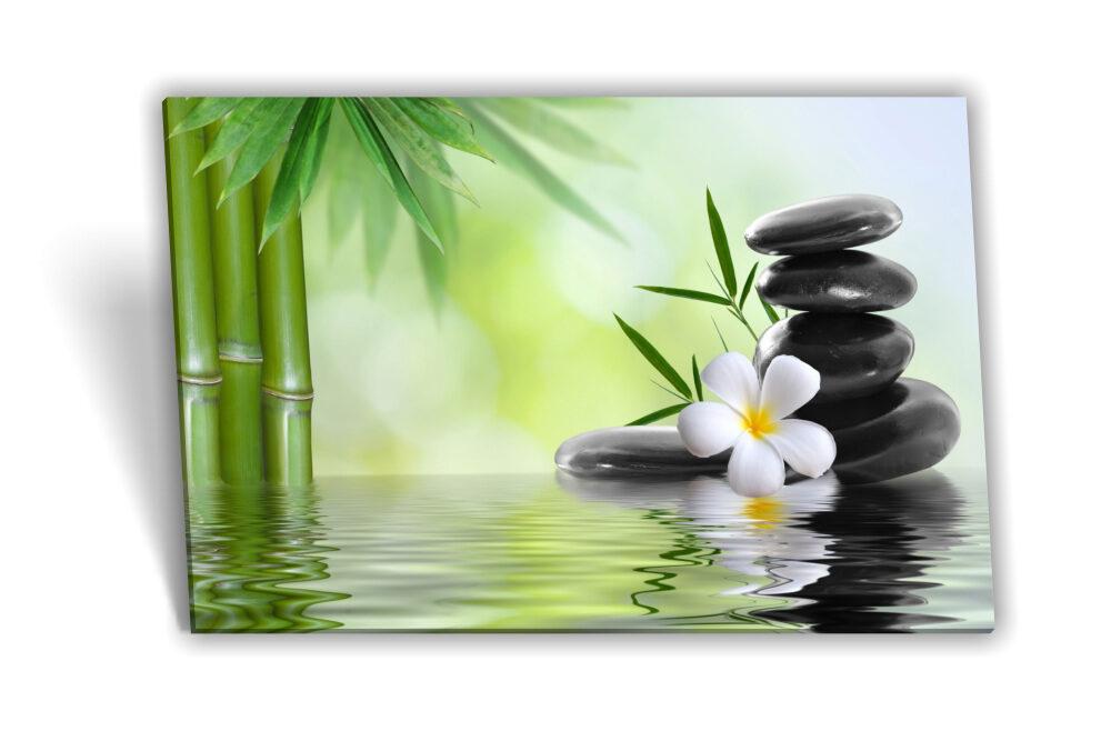Leinwand Bild Keilrahmen Bild Spa Wellness Orchidee Bambus Steine