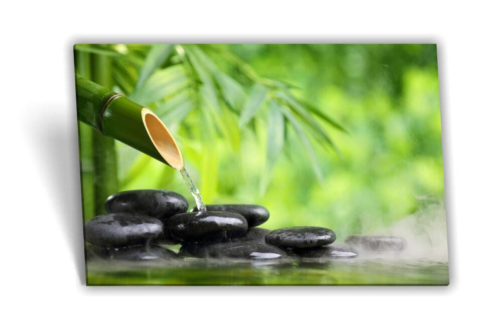 Leinwand Bild Keilrahmen Bild Spa Wellness Steine Bambus Wasser