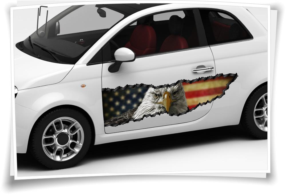 Auto Aufkleber Seitenstreifen Usa Amerika Flagge Adler Pick Up Airbrush Folie Tuning