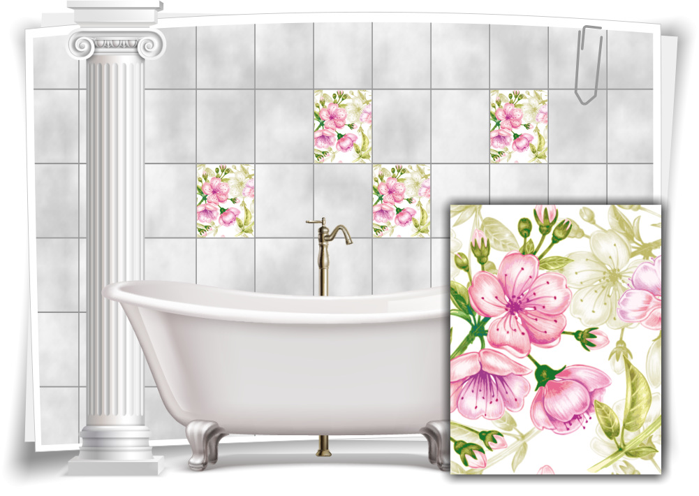 Fliesen Aufkleber Fliesen Bild Kachel Blüten Gemälde Rosa