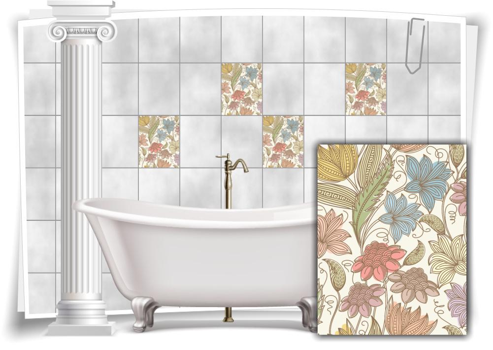 Fliesen Aufkleber Fliesen Bild Kachel Blumen Pastell