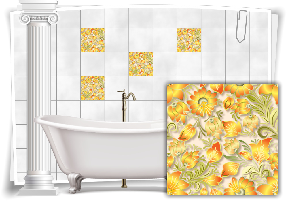 Fliesen Aufkleber Fliesen Bild Kachel Ornament Blumen Gelb