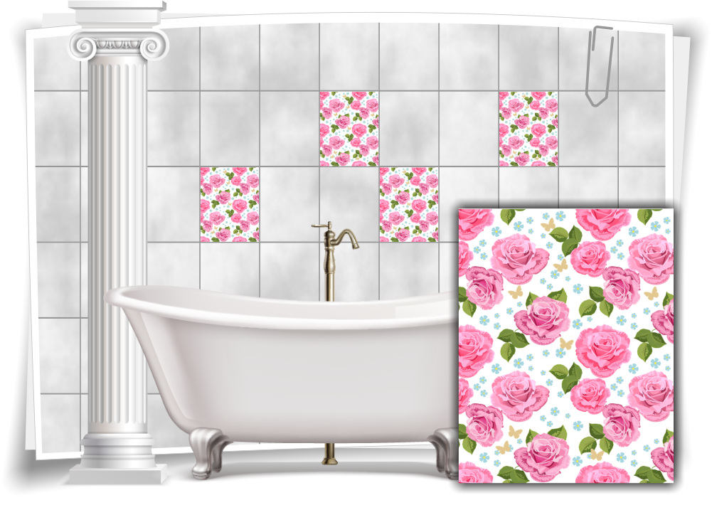 Tile Stickers Tile Picture Tile Stickers Sticker Flowers Wellness Rose Picture