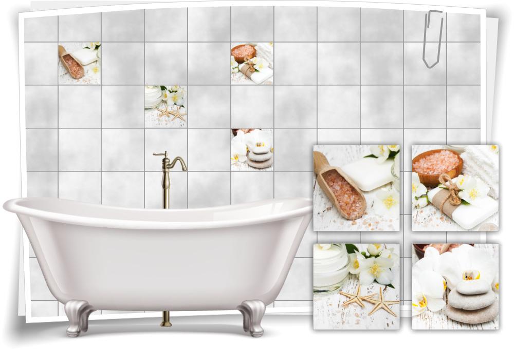 Fliesen Aufkleber Fliesen Bild Jasmin Salz Seesterne Blumen Steine Bad Wc Deko Medianlux Shop
