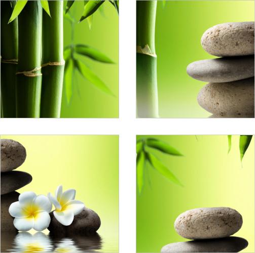 Fliesen-Aufkleber SPA Wellness Bambus Steine Blumen Grün ...