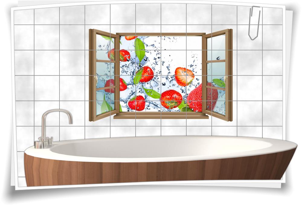 Fliesen Aufkleber Fliesen Bild Fenster Erdbeere Frucht Obst Essen Nahrung Bad Wc Aufkleber Folie Deko Medianlux Shop