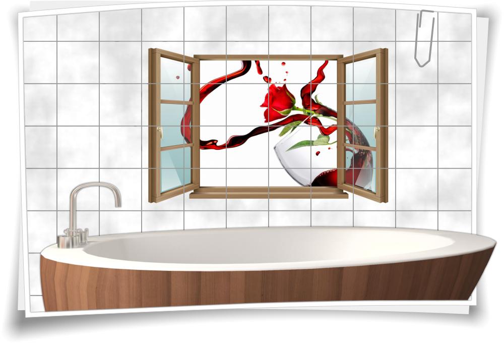 Fliesen Aufkleber Fliesen Bild Fenster Wein Glas Rose Rot Abstrakt Tropfen Bad Wc Aufkleber Folie Deko Medianlux Shop