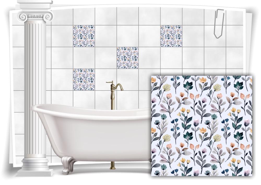 Fliesen-Aufkleber Fliesen-Bild Blumen Blätter Nostalgie Floral Bunt Rot Bad WC