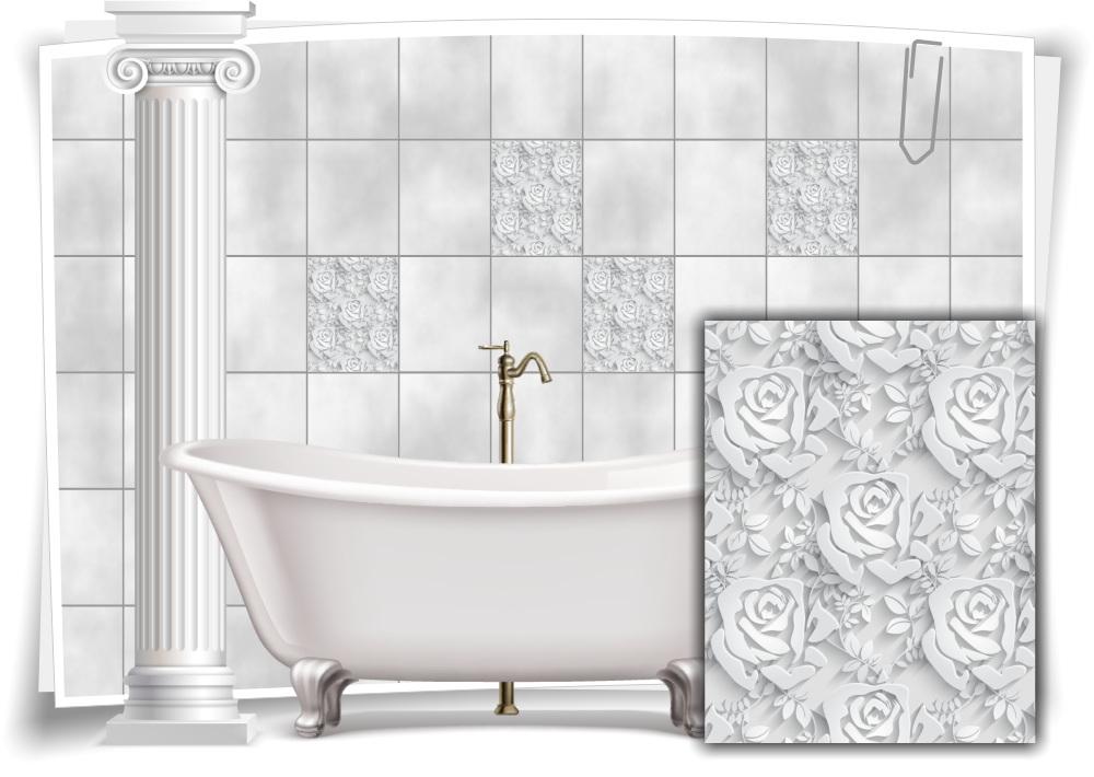 Fliesen-Aufkleber Fliesen-Bild Blumen Blätter Nostalgie Floral Weis Bad WC Deko